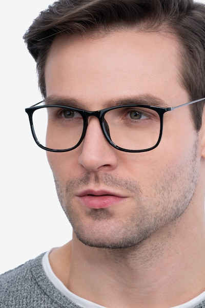 Hurricane Black Plastic Eyeglass Frames for Men from EyeBuyDirect