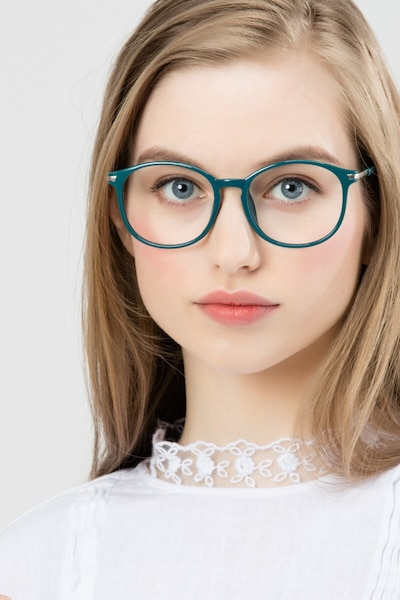 Lindsey Green Plastic Eyeglass Frames for Women from EyeBuyDirect, Front View