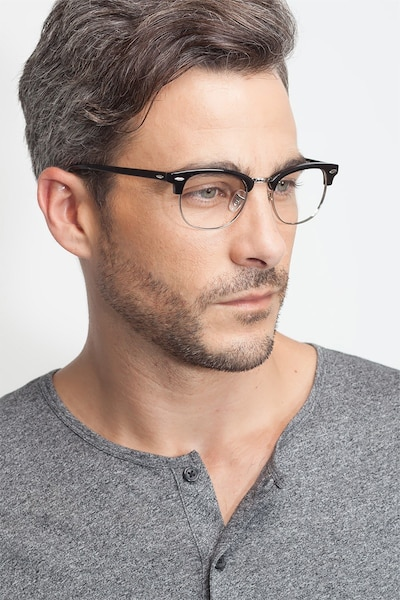 Sweet Janet Black Silver Metal Eyeglass Frames for Men from EyeBuyDirect, Front View