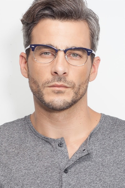 Sweet Janet Navy Silver Acetate Eyeglass Frames for Men from EyeBuyDirect, Front View