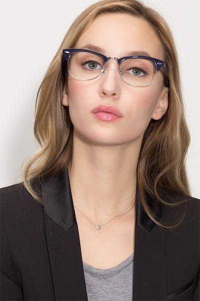Sweet Janet Navy Silver Acetate Eyeglass Frames for Women from EyeBuyDirect, Front View