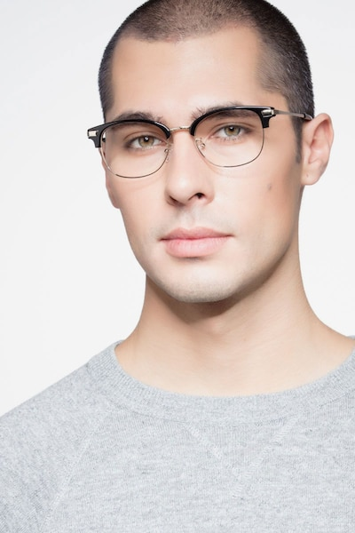 Kinjin Black Metal Eyeglass Frames for Men from EyeBuyDirect, Front View