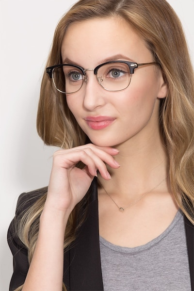 Kinjin Black Acetate Eyeglass Frames for Women from EyeBuyDirect