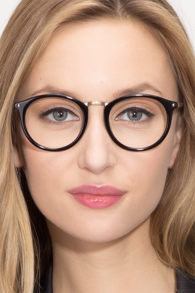 La Femme Black Acetate Eyeglass Frames for Women from EyeBuyDirect