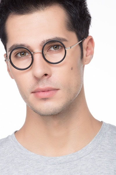 Roaring Black Metal Eyeglass Frames for Men from EyeBuyDirect, Front View