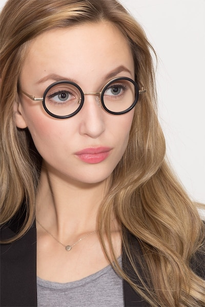 Roaring Black Acetate Eyeglass Frames for Women from EyeBuyDirect, Front View