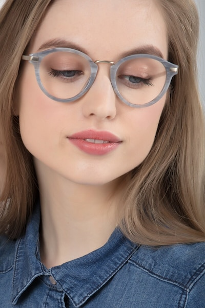 Yuke Light Gray Metal Eyeglass Frames for Women from EyeBuyDirect, Front View
