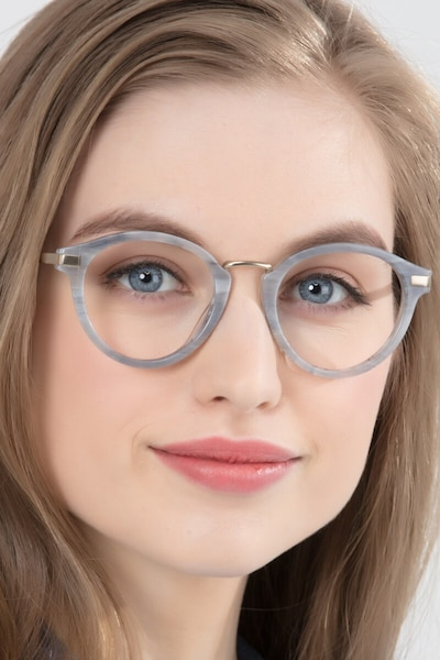 Yuke Light Gray Metal Eyeglass Frames for Women from EyeBuyDirect