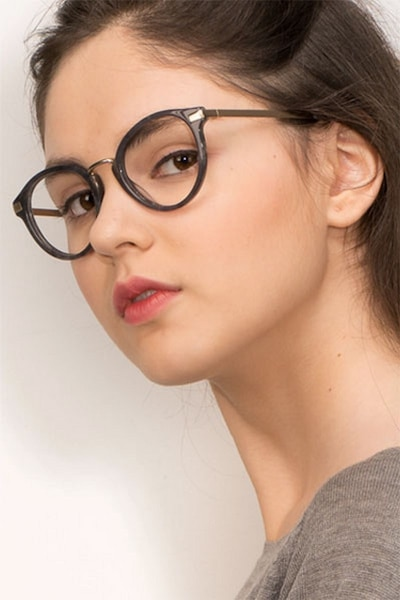 Yuke Dark Gray Metal Eyeglass Frames for Women from EyeBuyDirect, Front View