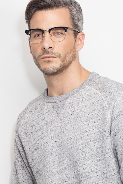 Borderline Black Acetate Eyeglass Frames for Men from EyeBuyDirect, Front View