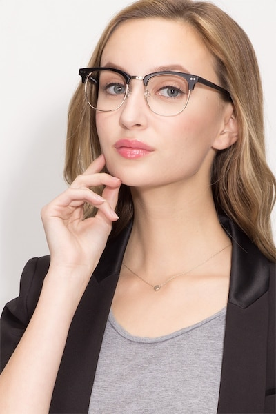 Borderline Black Metal Eyeglass Frames for Women from EyeBuyDirect, Front View