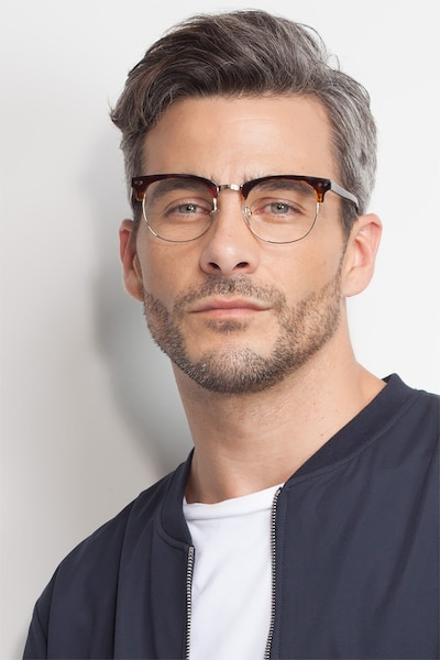 Borderline Tortoise Metal Eyeglass Frames for Men from EyeBuyDirect, Front View