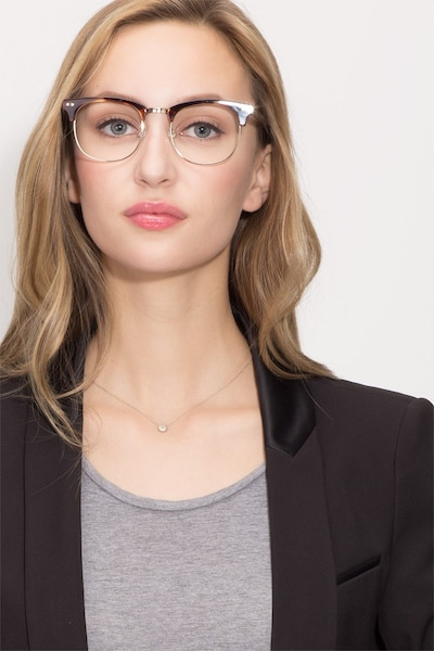 Borderline Tortoise Metal Eyeglass Frames for Women from EyeBuyDirect, Front View