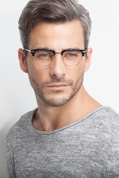 Identity Black Acetate-metal Eyeglass Frames for Men from EyeBuyDirect, Front View