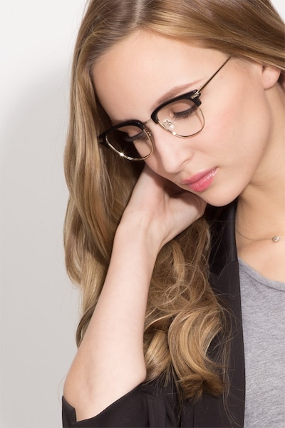 Identity Black Acetate-metal Eyeglass Frames for Women from EyeBuyDirect, Front View