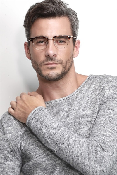 Identity Tortoise Metal Eyeglass Frames for Men from EyeBuyDirect, Front View