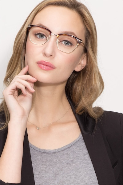Identity Tortoise Metal Eyeglass Frames for Women from EyeBuyDirect, Front View