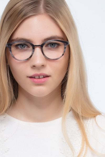 Ginger Gray Striped Acetate Eyeglass Frames for Women from EyeBuyDirect, Front View
