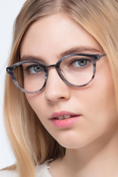 Ginger Gray Striped Acetate Eyeglass Frames for Women from EyeBuyDirect