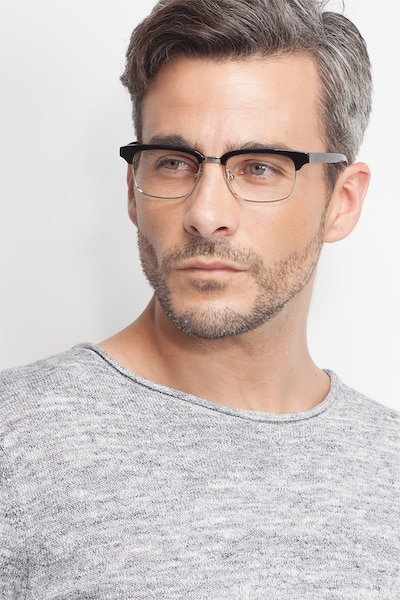 Levy Black Acetate Eyeglass Frames for Men from EyeBuyDirect, Front View
