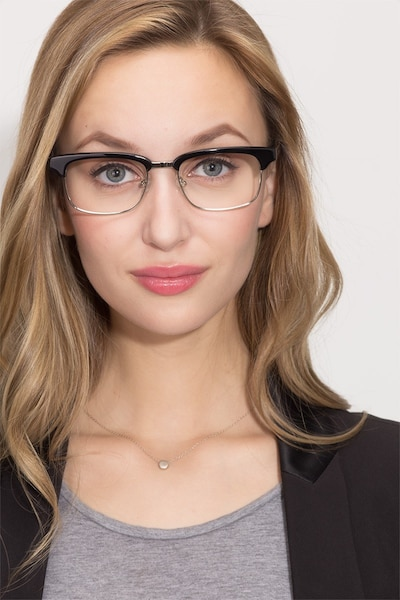 Levy Black Acetate Eyeglass Frames for Women from EyeBuyDirect, Front View
