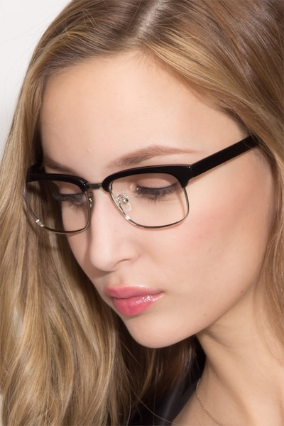 Levy Black Acetate Eyeglass Frames for Women from EyeBuyDirect