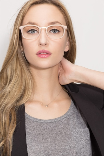 First Light Pink Acetate Eyeglass Frames for Women from EyeBuyDirect, Front View