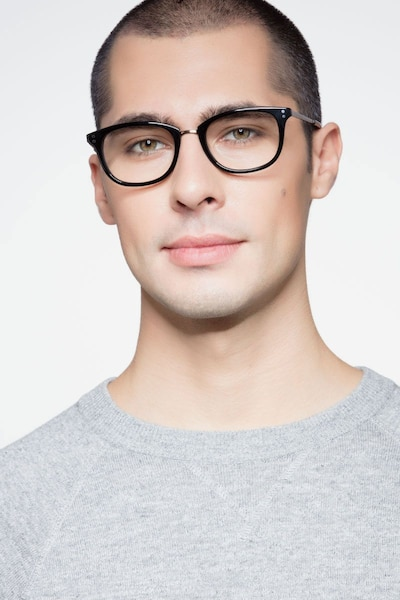 Synopsis Black Acetate Eyeglass Frames for Men from EyeBuyDirect, Front View