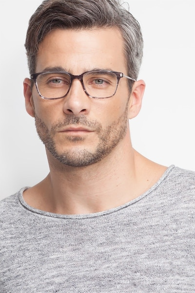 Motion Gray Striped Acetate Eyeglass Frames for Men from EyeBuyDirect, Front View
