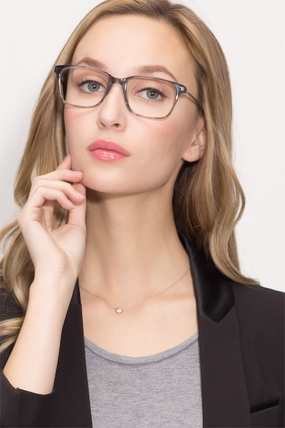 Motion Gray Striped Metal Eyeglass Frames for Women from EyeBuyDirect, Front View