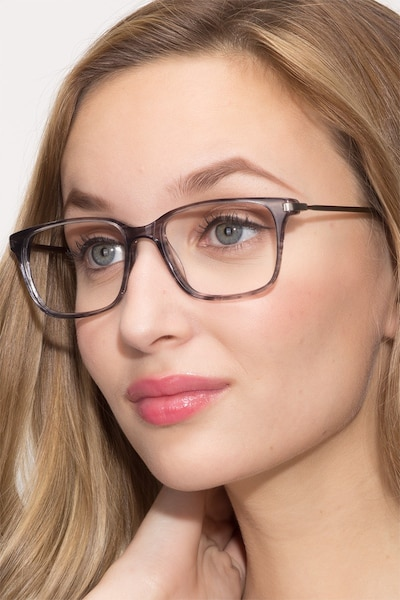 Motion Gray Striped Acetate Eyeglass Frames for Women from EyeBuyDirect