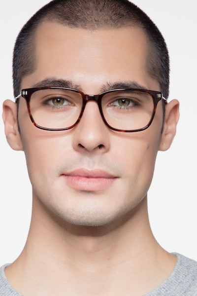 Motion Tortoise Acetate Eyeglass Frames for Men from EyeBuyDirect, Front View