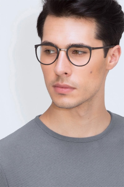 Alpha Black Acetate Eyeglass Frames for Men from EyeBuyDirect, Front View