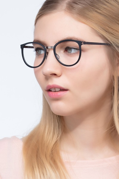Alpha Black Acetate Eyeglass Frames for Women from EyeBuyDirect, Front View