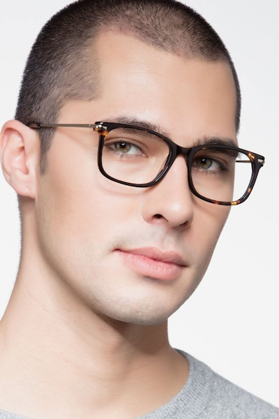 Phase Tortoise Acetate Eyeglass Frames for Men from EyeBuyDirect, Front View