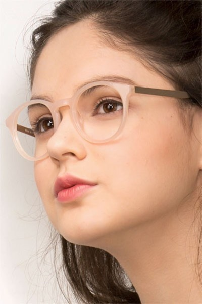 White Moon Pink Acetate Eyeglass Frames for Women from EyeBuyDirect, Front View