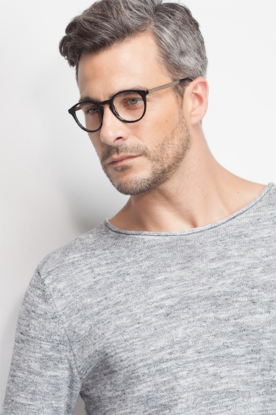 White Moon Black Acetate Eyeglass Frames for Men from EyeBuyDirect, Front View