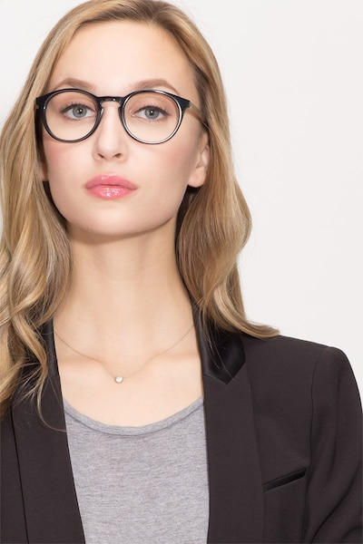 White Moon Black Acetate Eyeglass Frames for Women from EyeBuyDirect, Front View