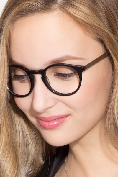 White Moon Black Acetate Eyeglass Frames for Women from EyeBuyDirect