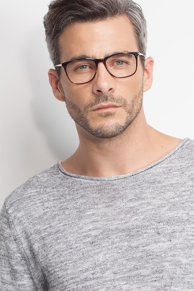 Contrast Tortoise Acetate Eyeglass Frames for Men from EyeBuyDirect, Front View