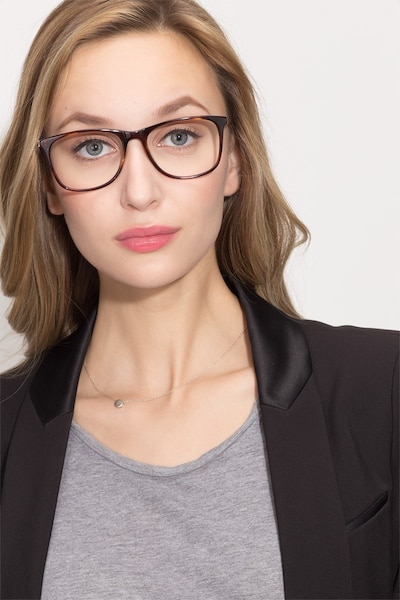 Contrast Tortoise Metal Eyeglass Frames for Women from EyeBuyDirect, Front View