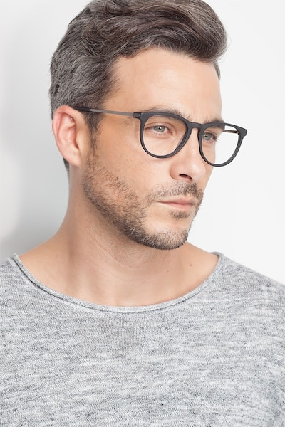 Ultraviolet Matte Black Acetate Eyeglass Frames for Men from EyeBuyDirect, Front View