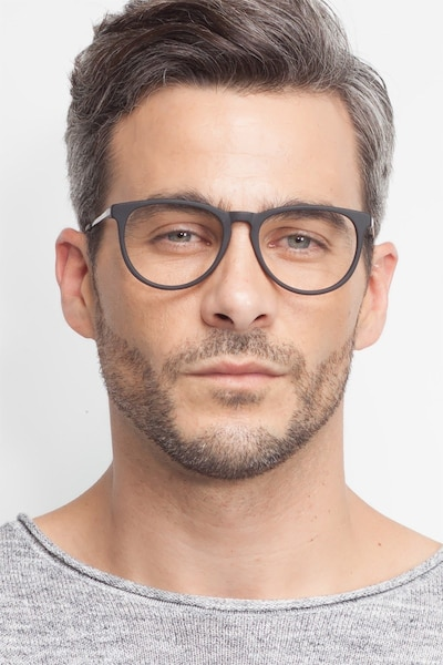 Ultraviolet Matte Black Acetate Eyeglass Frames for Men from EyeBuyDirect