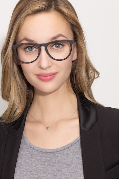 Ultraviolet Matte Black Acetate Eyeglass Frames for Women from EyeBuyDirect, Front View