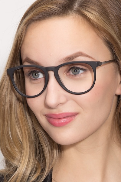Ultraviolet Matte Black Acetate Eyeglass Frames for Women from EyeBuyDirect
