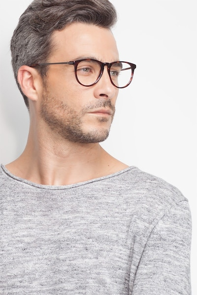 Ultraviolet Tortoise Acetate Eyeglass Frames for Men from EyeBuyDirect, Front View
