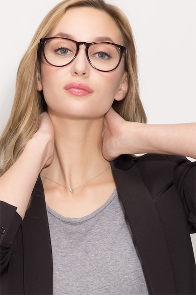 Ultraviolet Tortoise Acetate Eyeglass Frames for Women from EyeBuyDirect, Front View