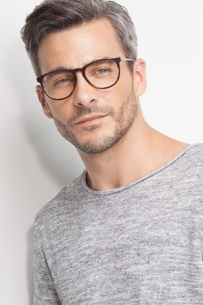 Ultraviolet Brown Striped Acetate Eyeglass Frames for Men from EyeBuyDirect, Front View
