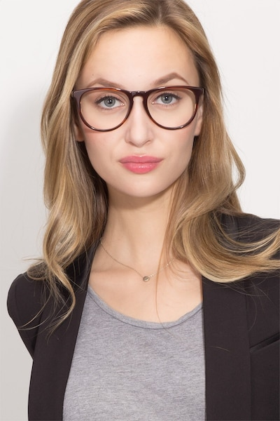 Ultraviolet Brown Striped Metal Eyeglass Frames for Women from EyeBuyDirect, Front View