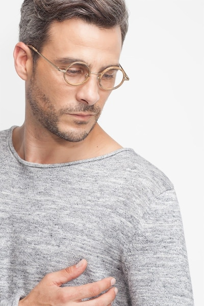 Roaring Brown Metal Eyeglass Frames for Men from EyeBuyDirect, Front View